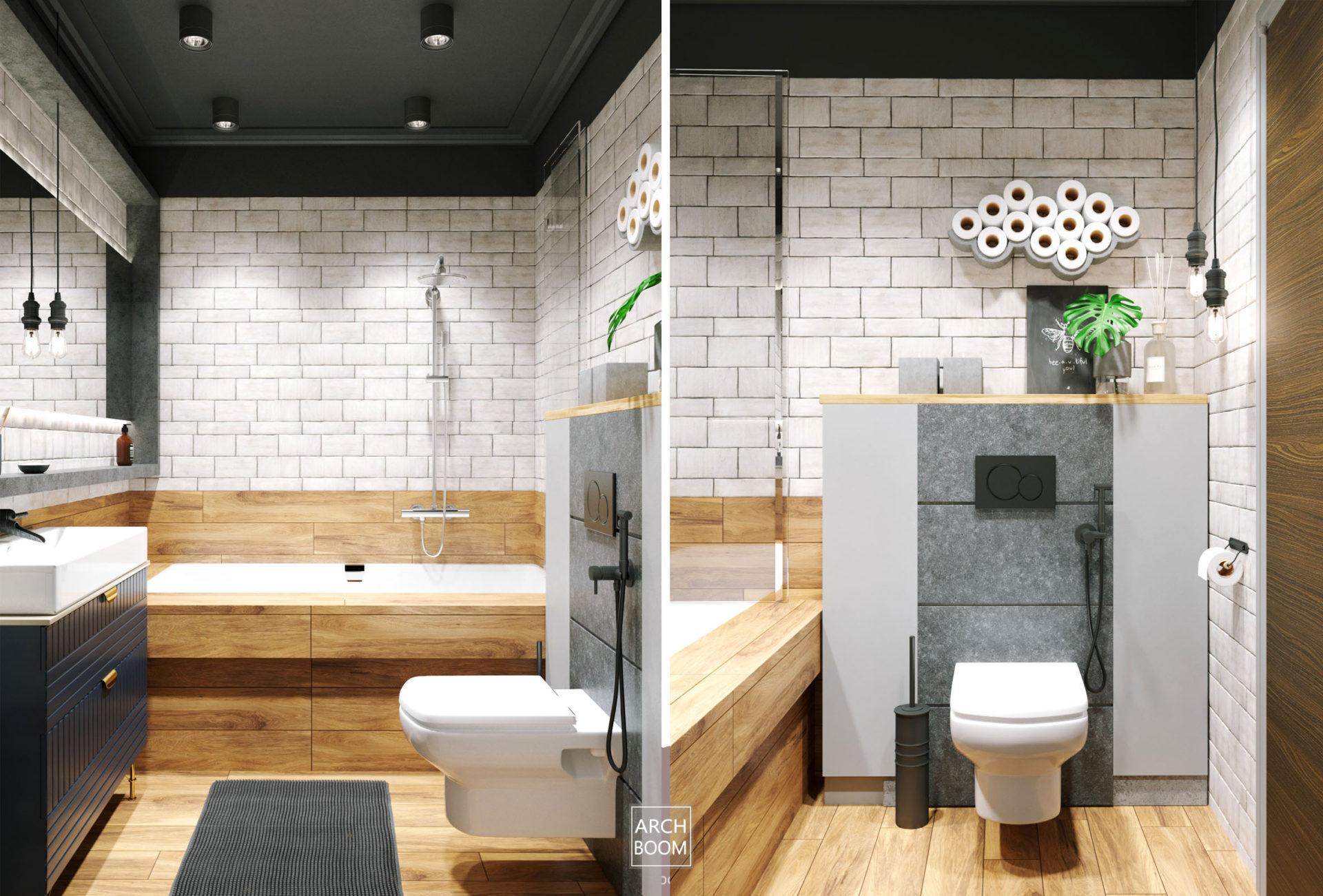 Płytki drewnopodobne i cegiełki w wystroju łazienki