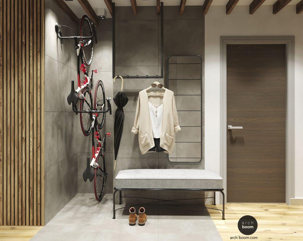 korytarz z miejscem na rowery
