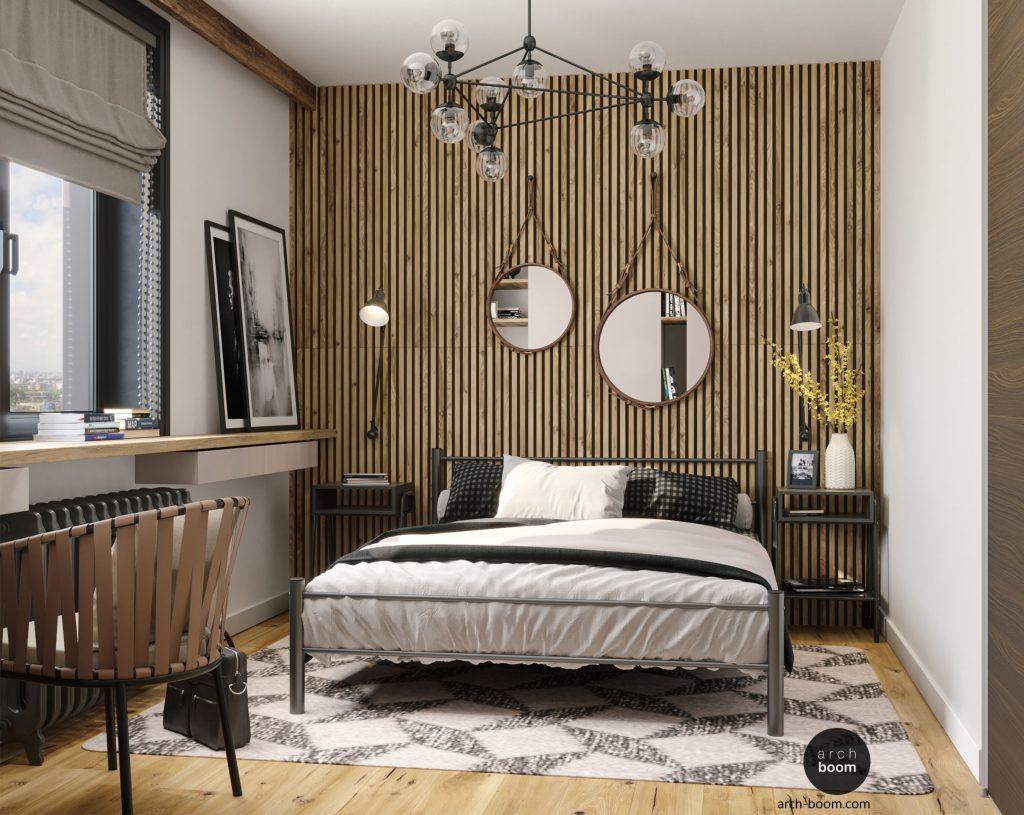 sypialnia z lustrem nad łóżkiem