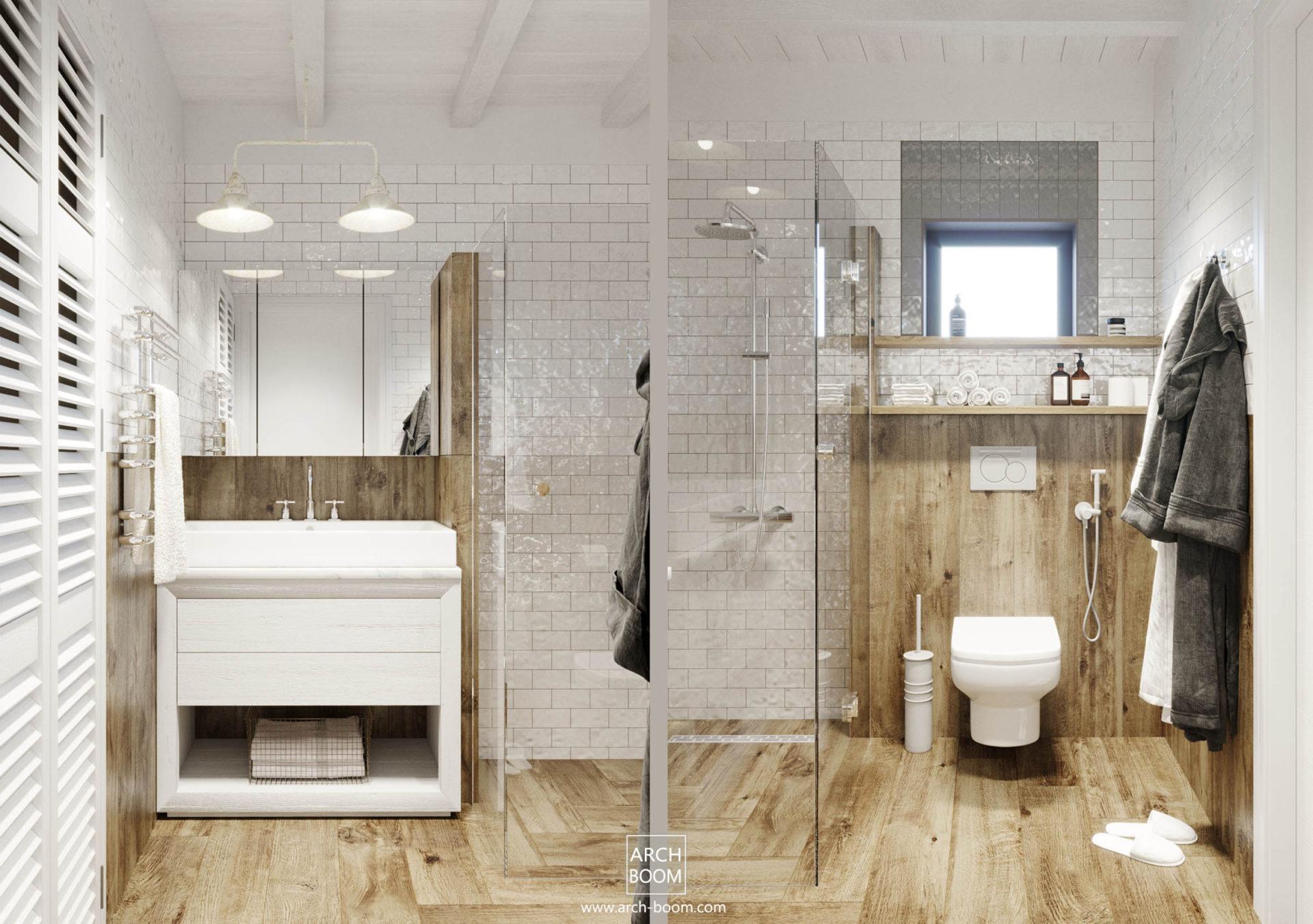 Łazienka płytki drewnopodobne i cegiełki