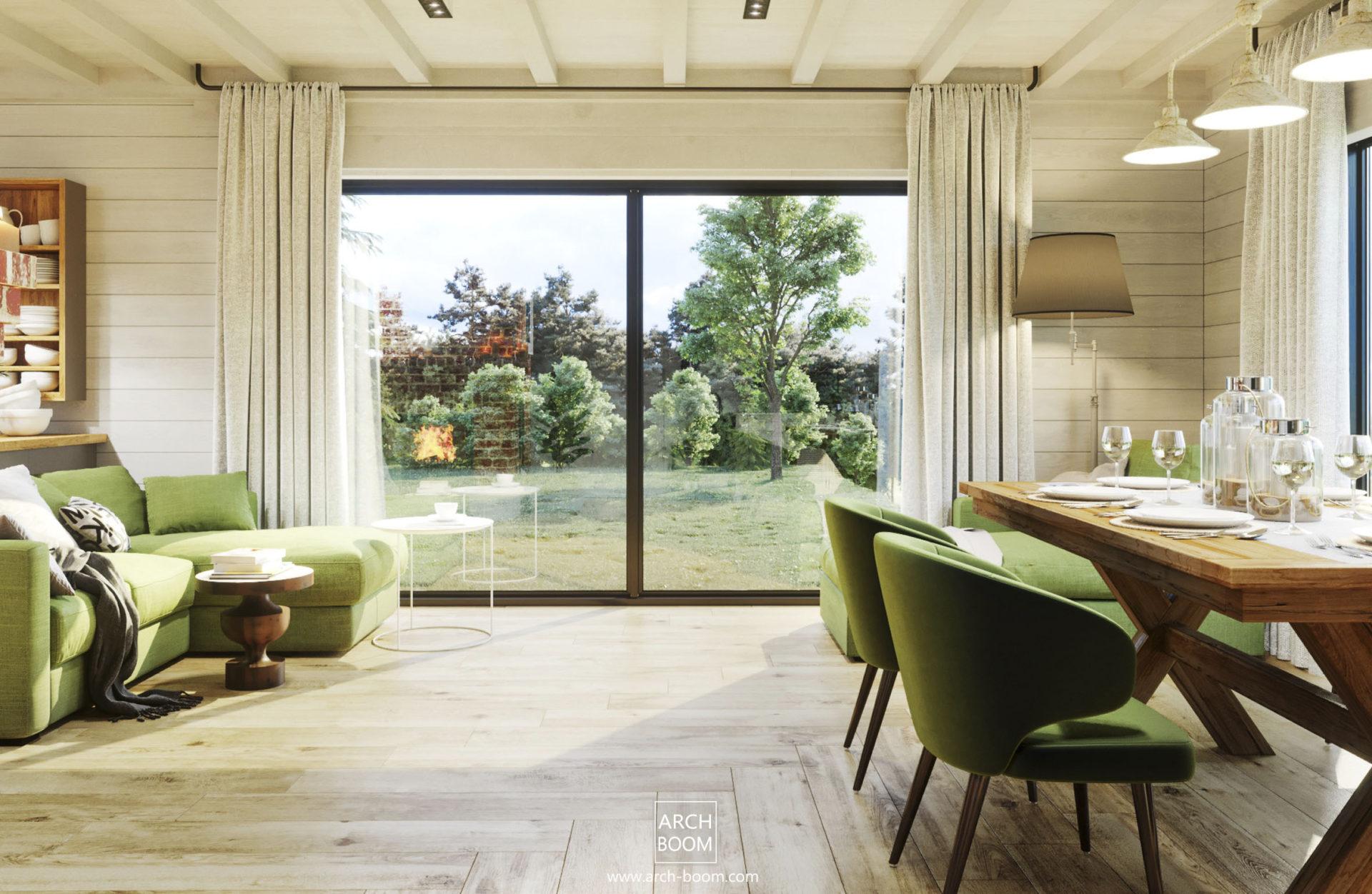 duże okno we wnętrzu domku letniskowego_kanapa o oliwkowym kolorze