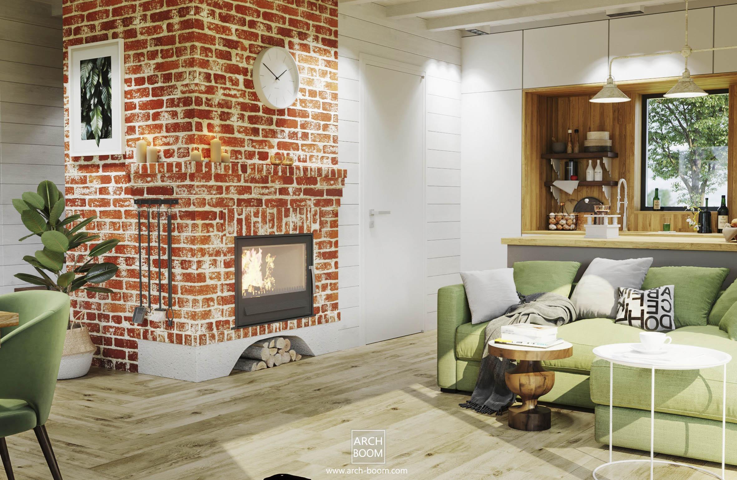 wnętrze domku rekreacyjnego z kominkiem i białą kuchnią