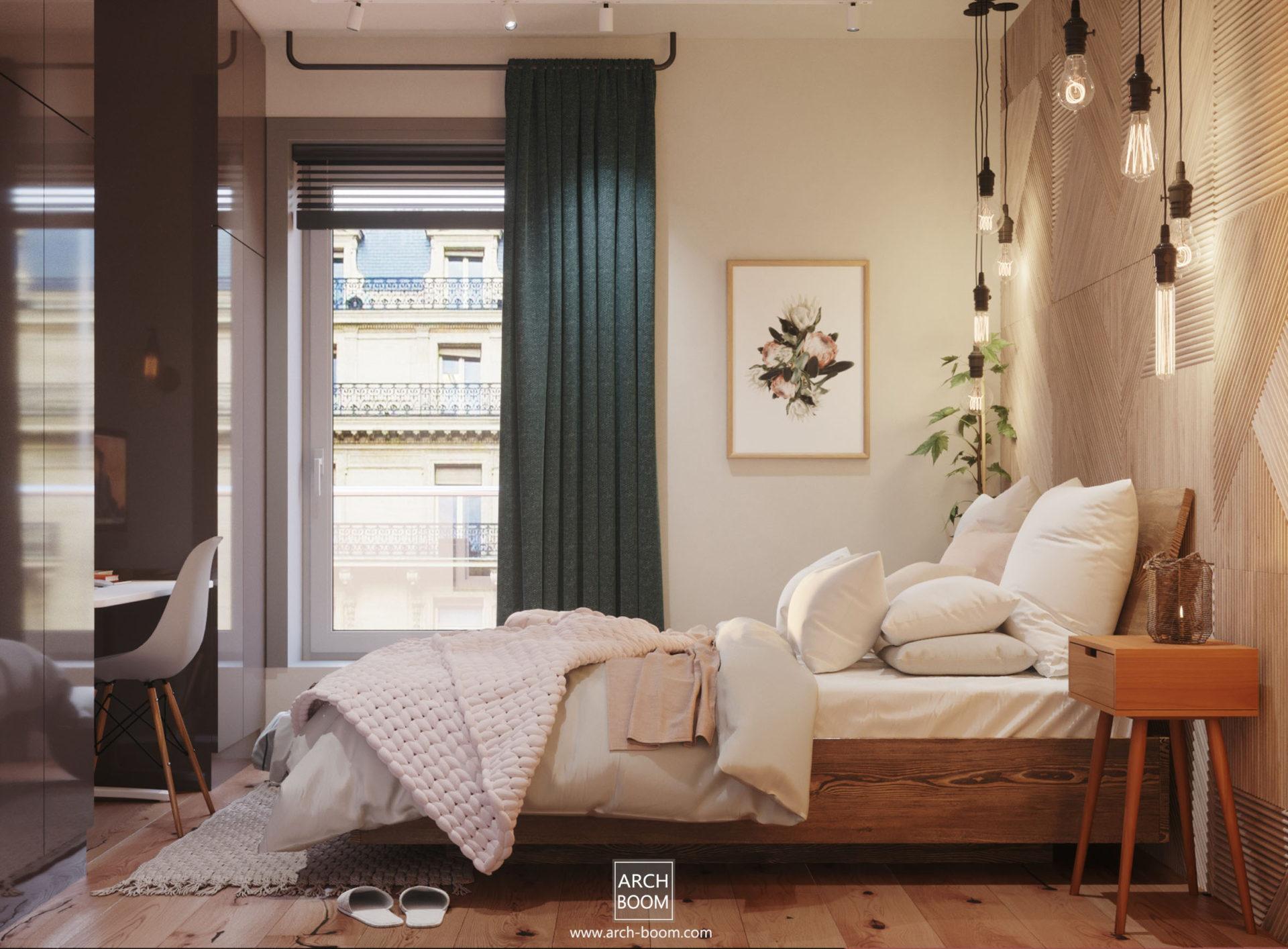 sypialnia dekorowana drewnem z dużym oknem i kolorową zasłoną