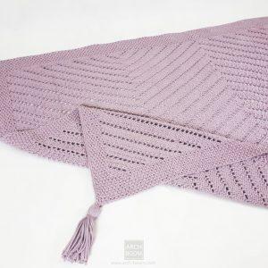 Gruba bawełniana różowa narzuta ręcznie robiona wzór jodełka zigzag