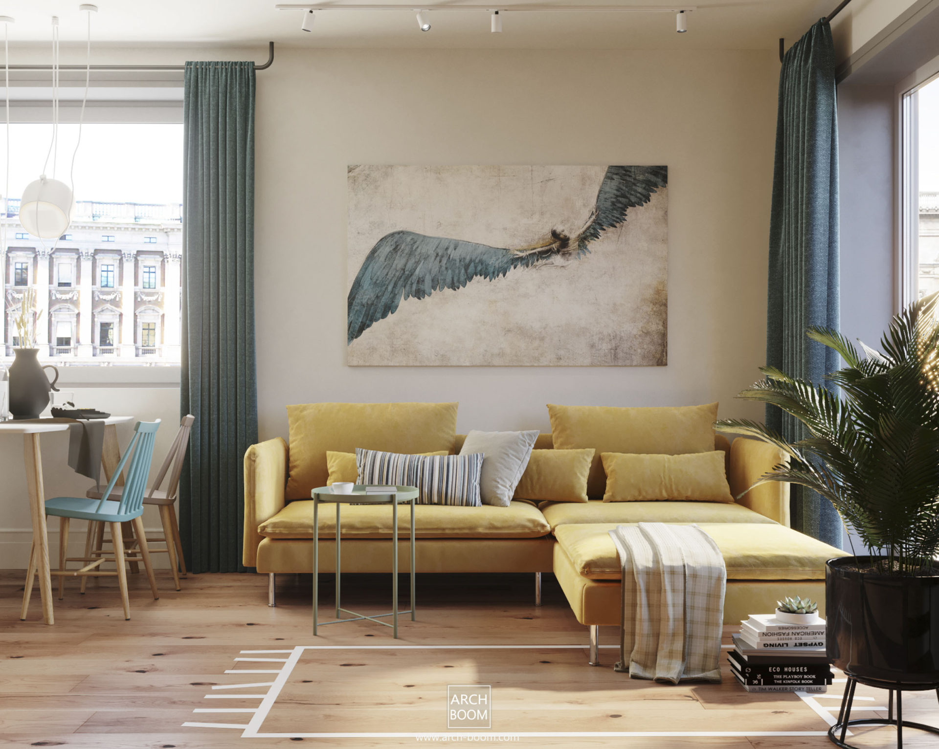 Salon w stylu skandynawskim w kolorach bieli, granatowego i musztardowej kanapy