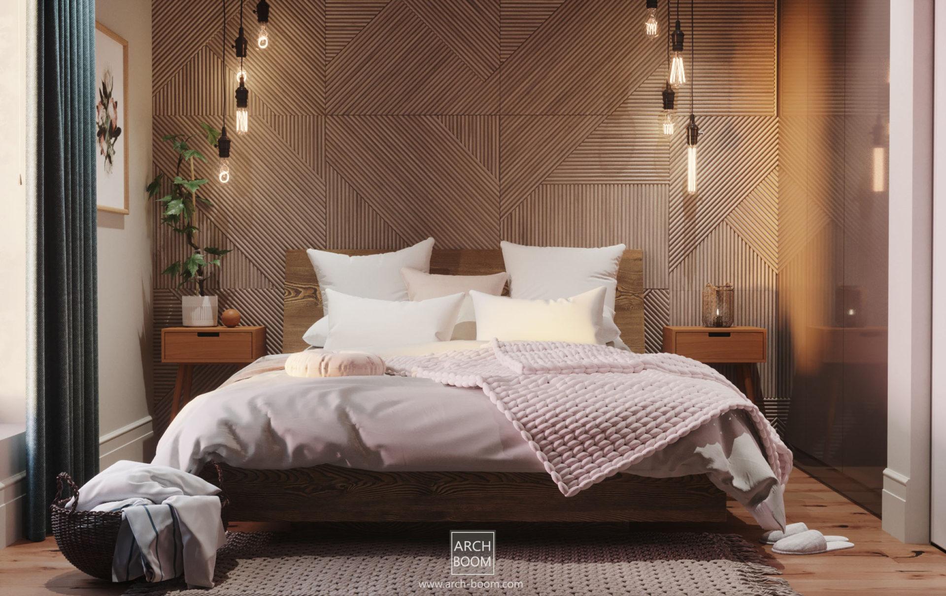 Klimatyczna sypialnia z ozdobną ścianą przy wezgłowiu