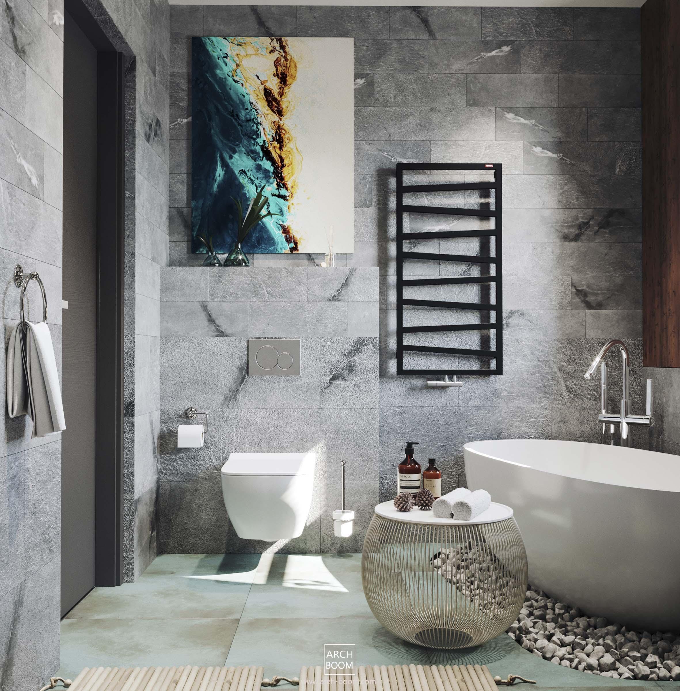 łazienka w szarościach z akcentem turkusowym i złotem