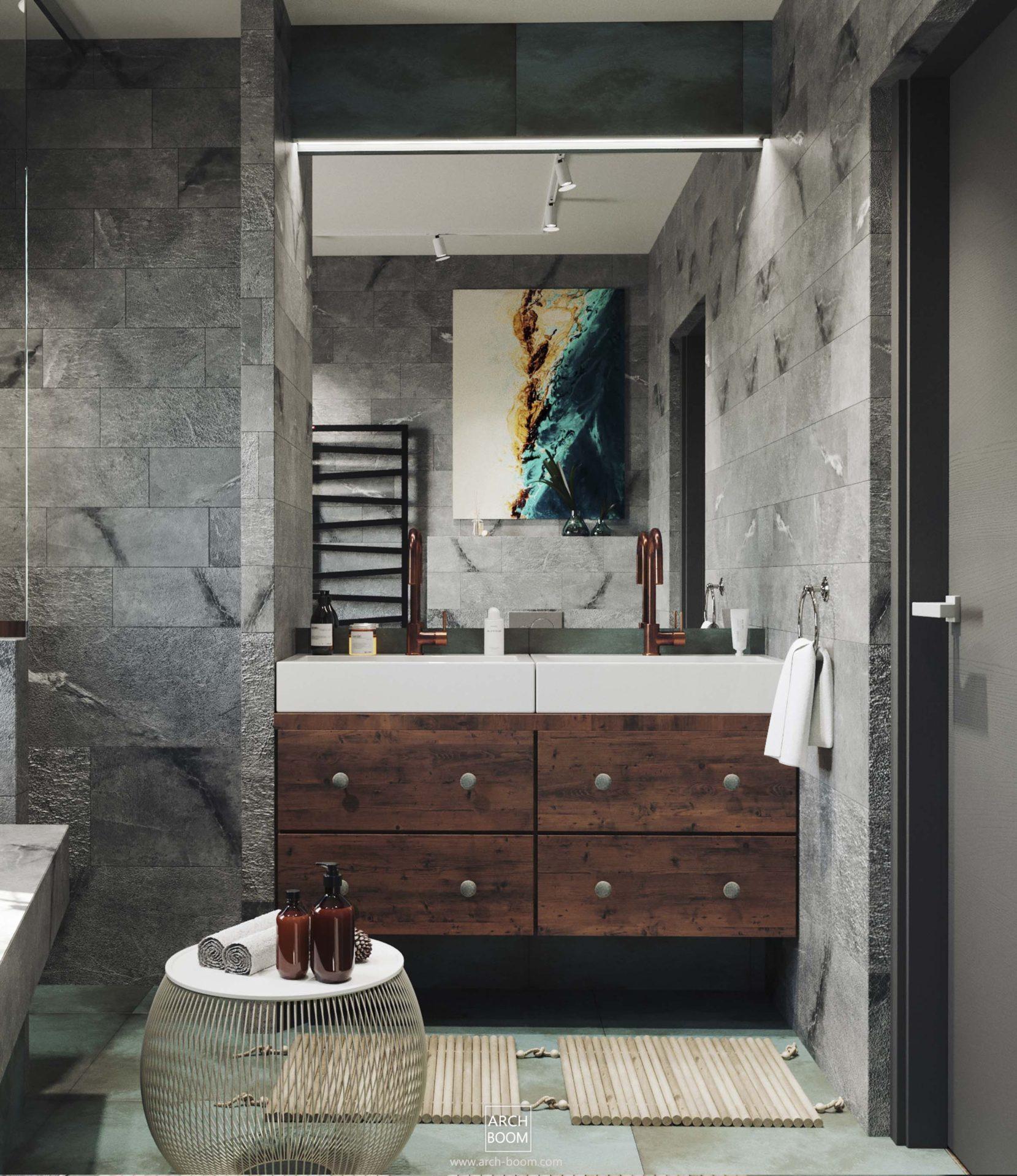 dwie umywalki w łazience z ogromnym lustrem i doświetleniem LEDowym