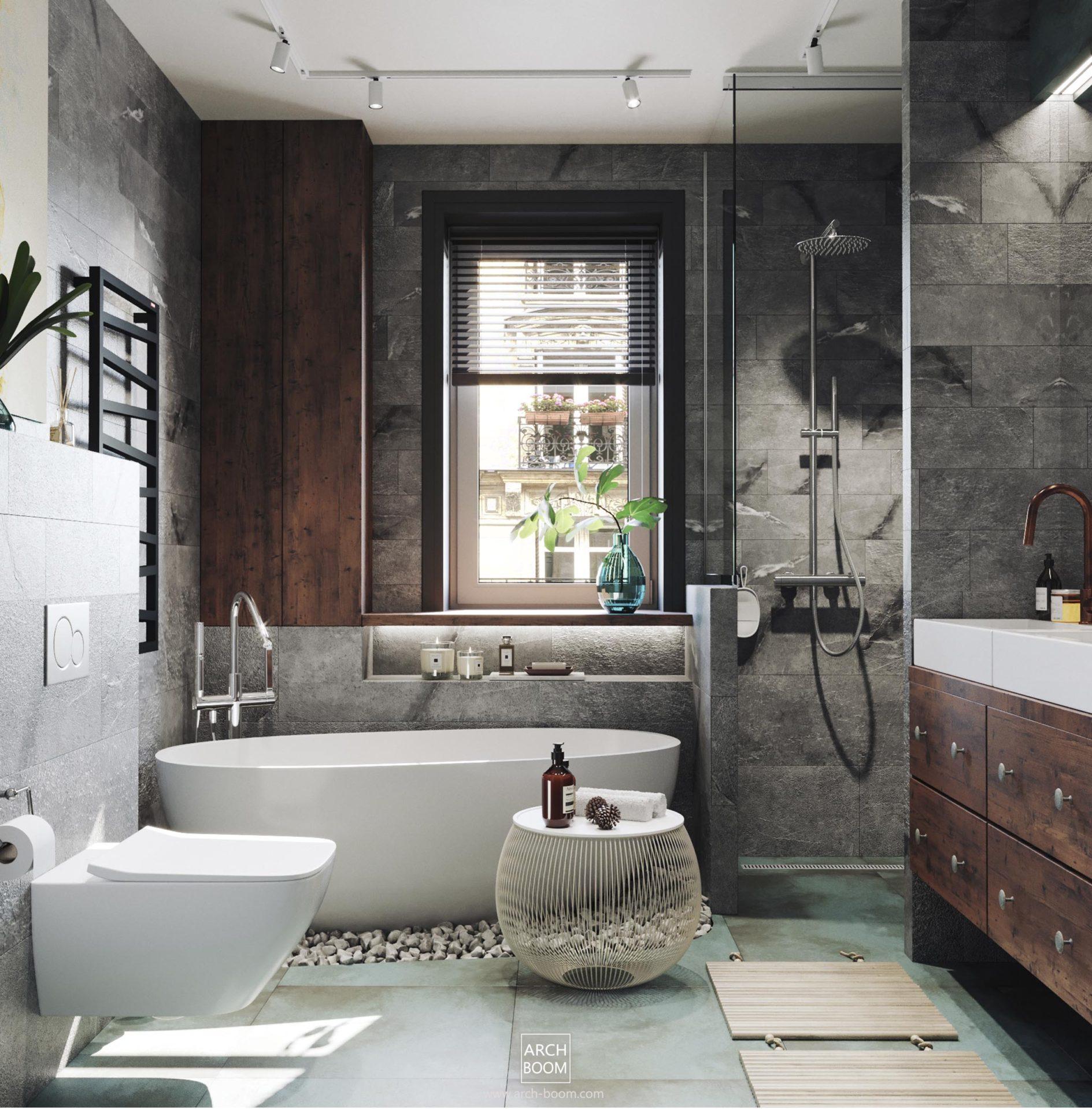 łazienka z wanną wolnostojącą w kolorze szarym i turkusowym