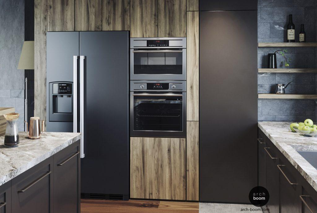 zabudowa meblowa w kuchni z wejściem do spiżarni