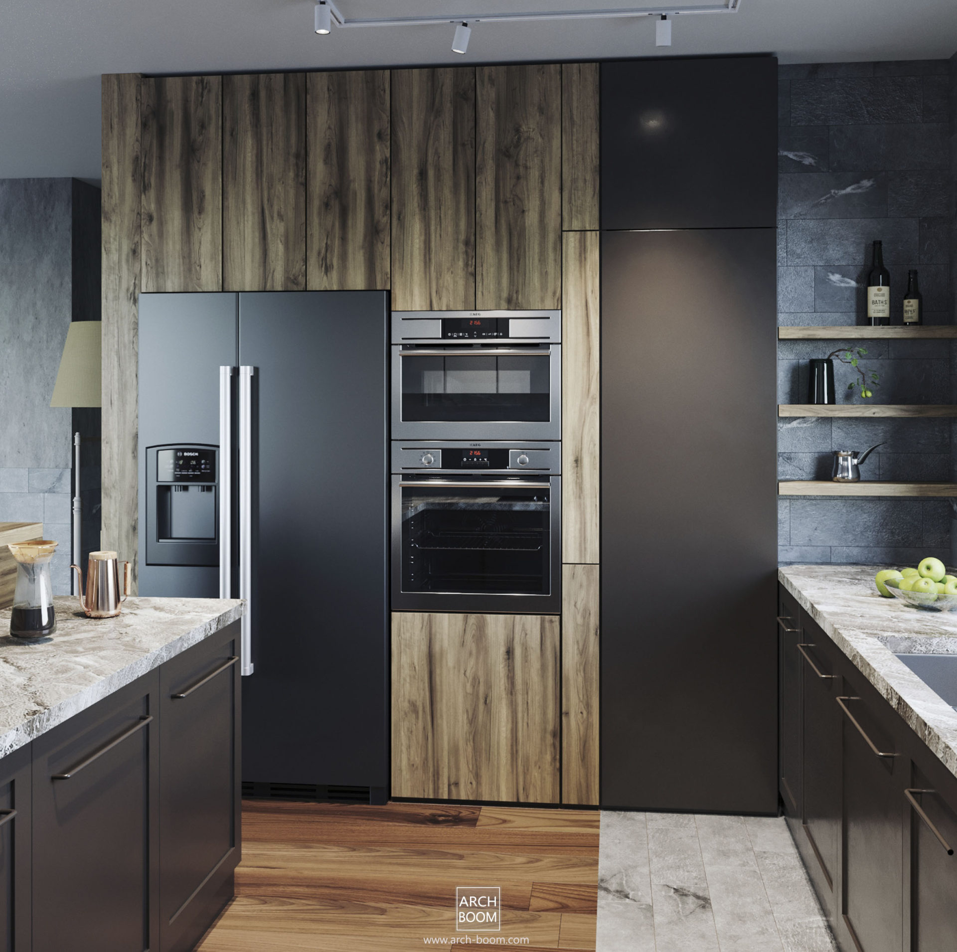 Zabudowa kuchenna z ukytym wejściem do spiżarni