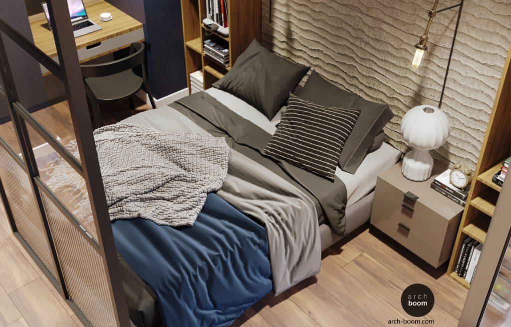 łóżko za ścianą szklaną