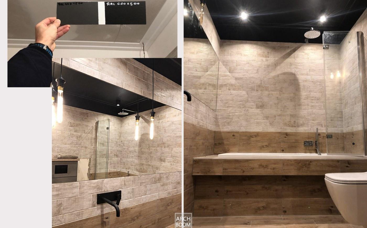 ciemny sufit w łazience