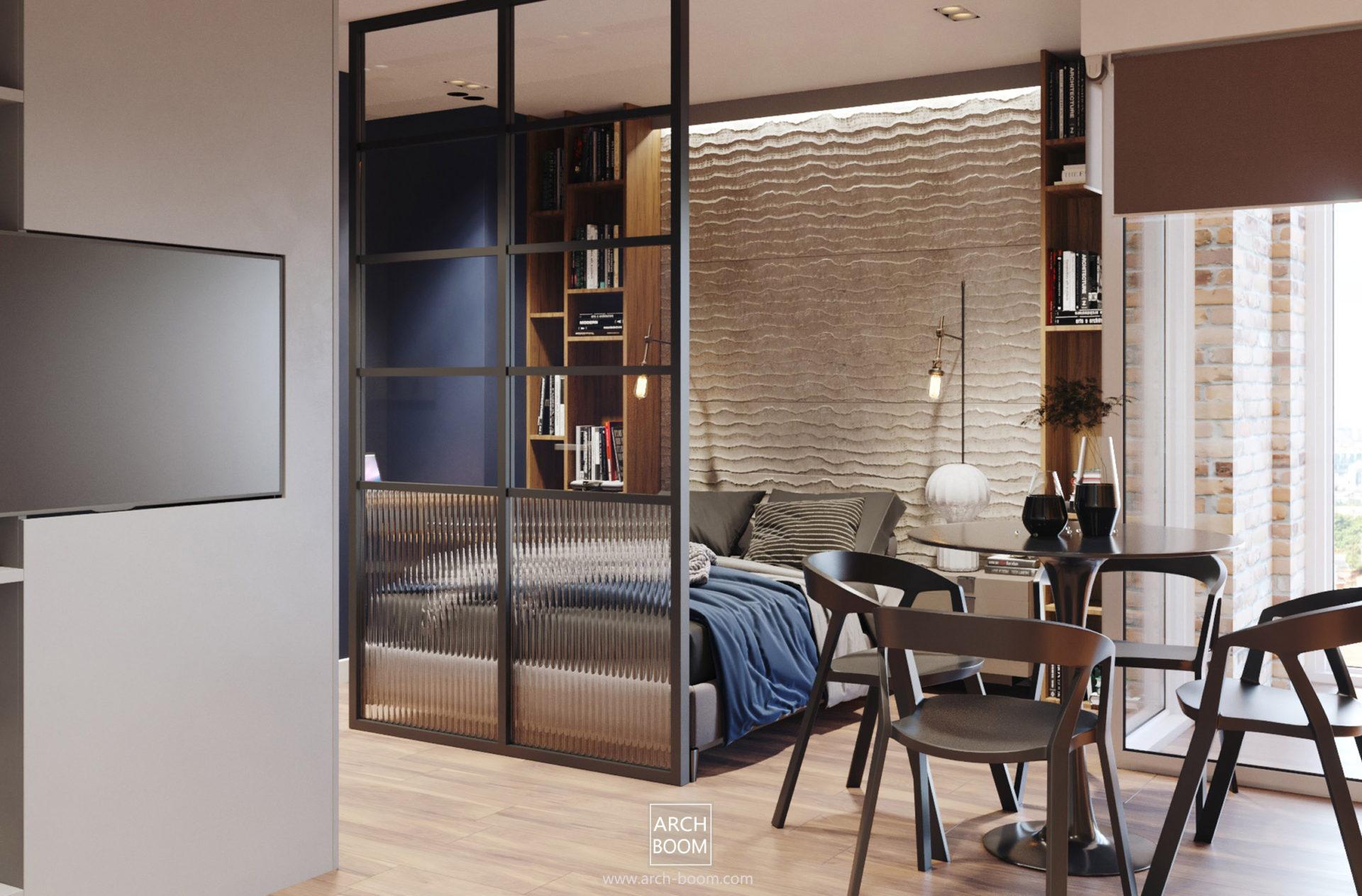 sypialnia w mieszkaniu jednopokojowym