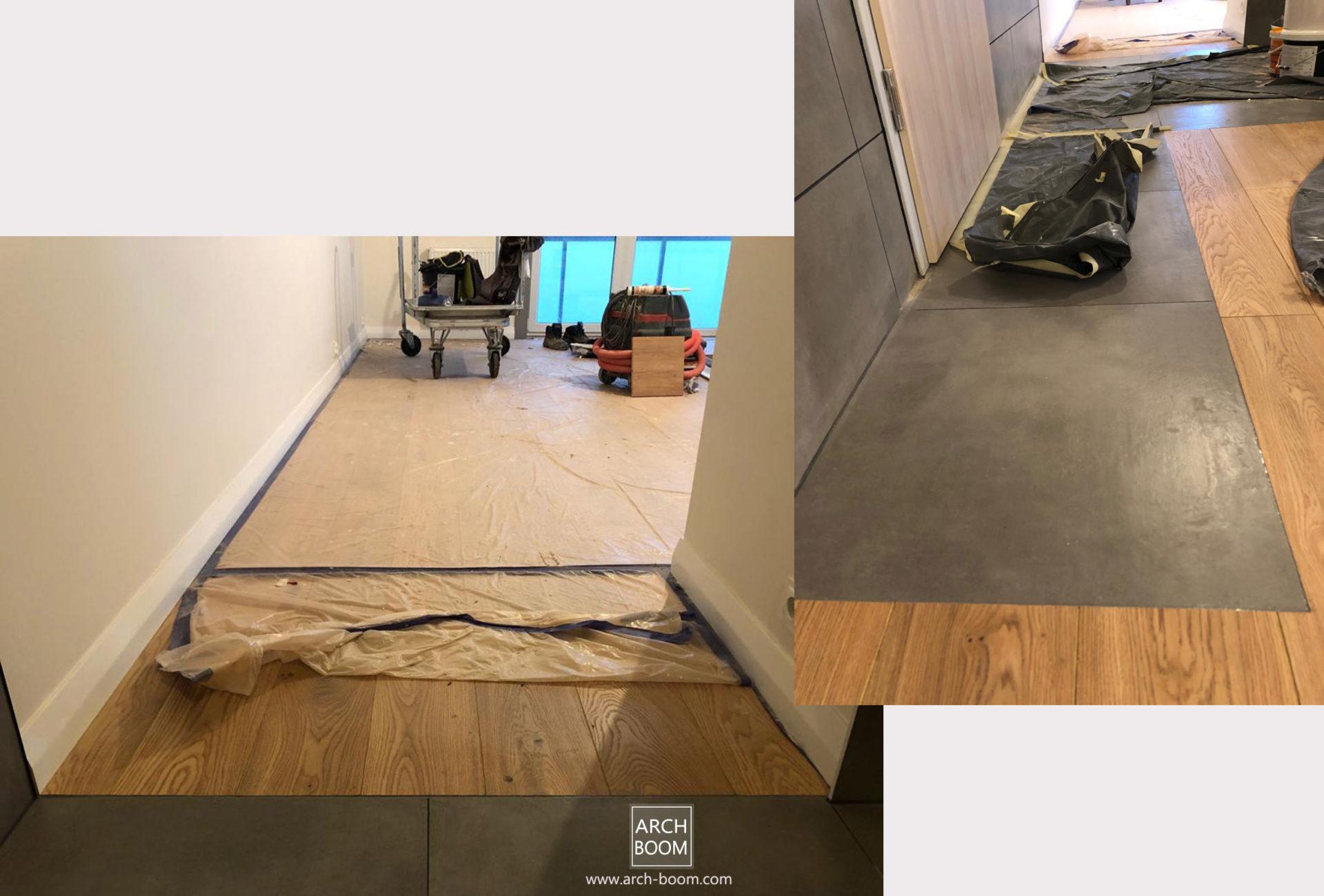 podłoga płytki i panele