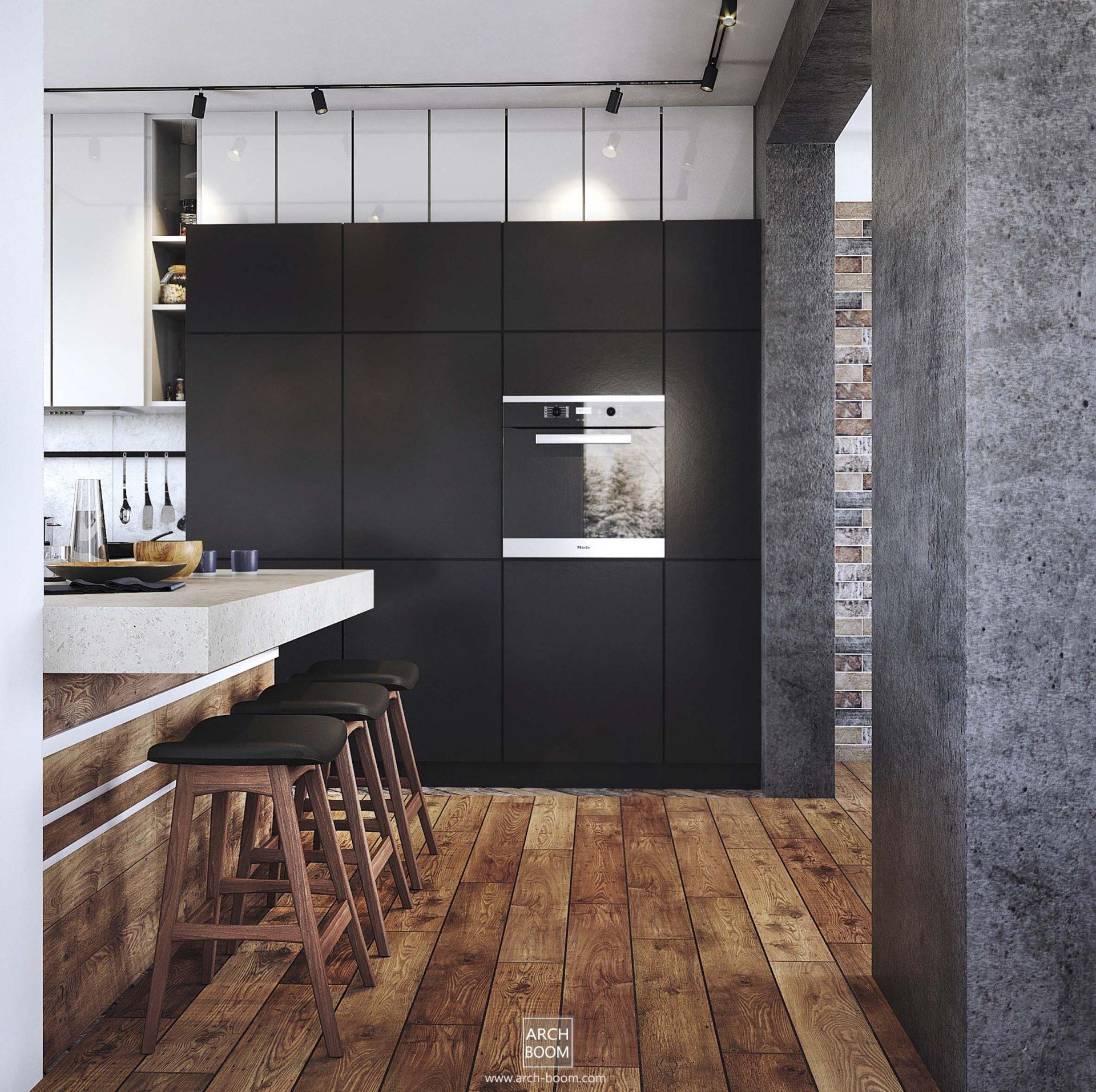 Czarna szafa w kuchni