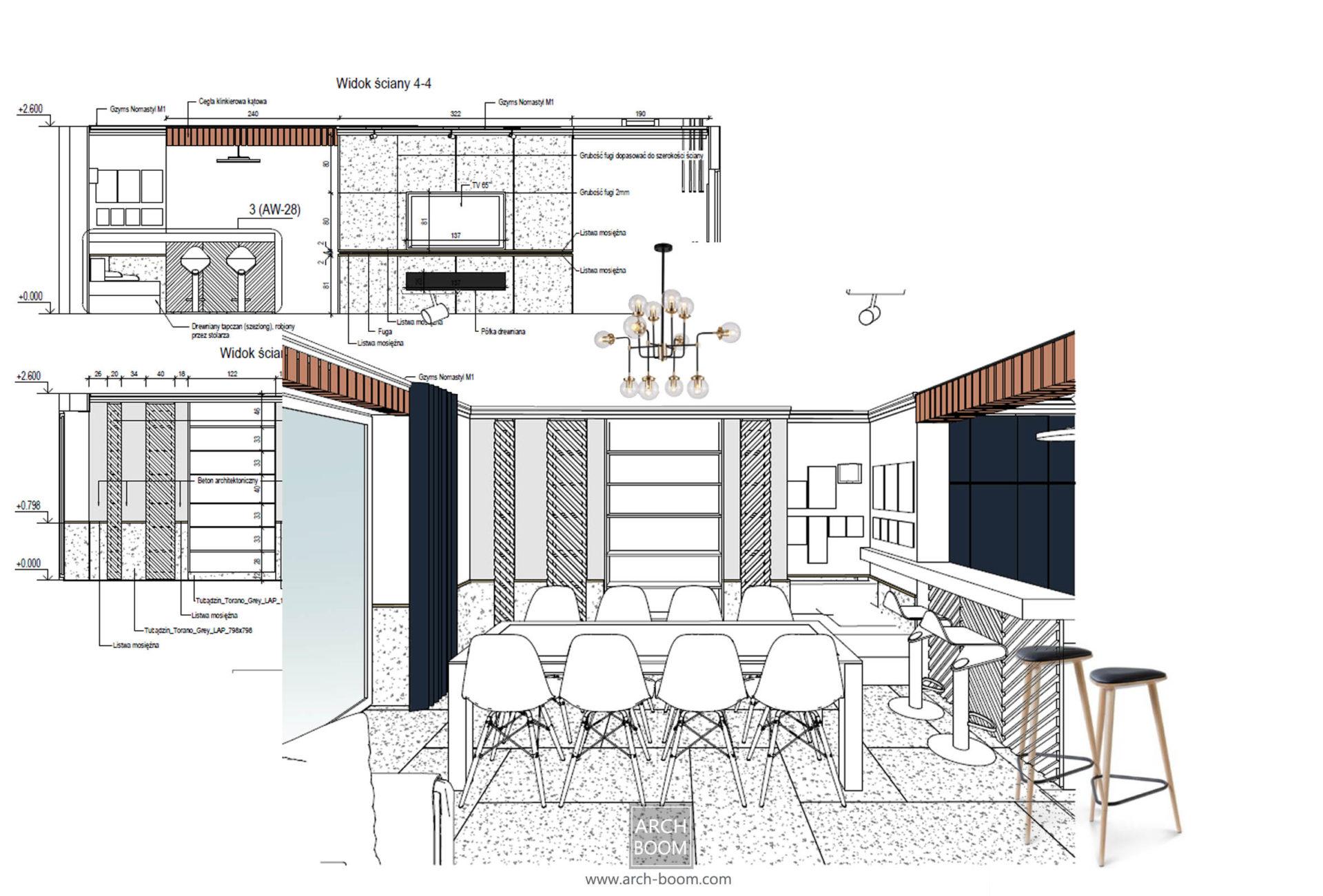 Koncepcja strefy jadalnianej w domu prywatnym