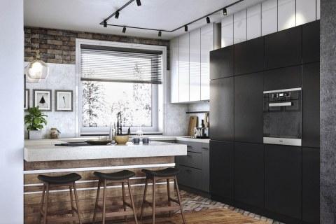 Aranżacja kuchni z wykorzystaniem cegły i drewna