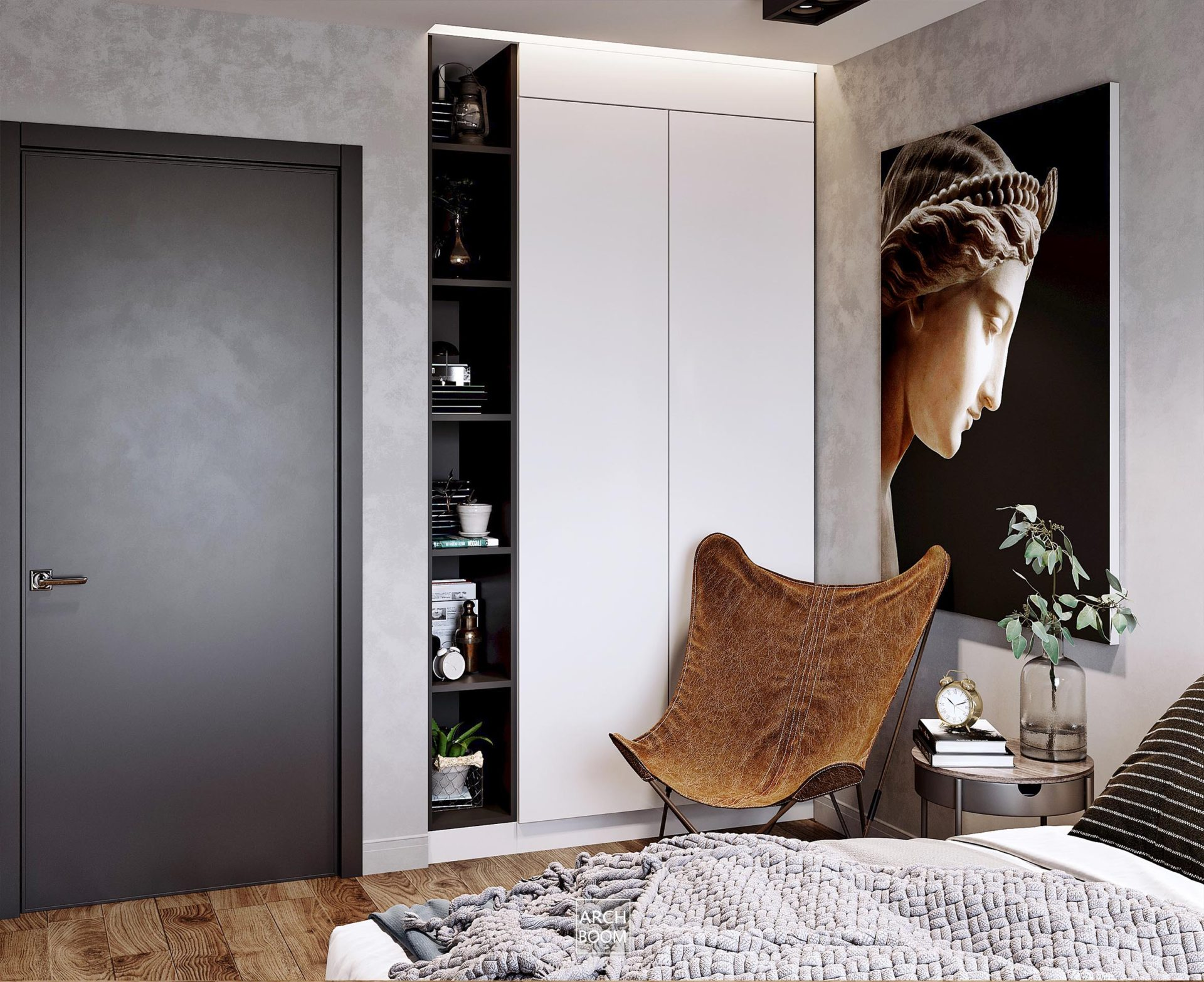 Szafa zabudowana we wnęce w sypialni