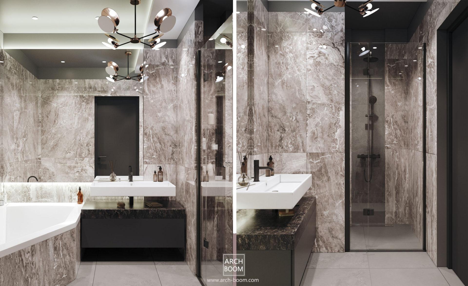 łazienka w męskim klimacie płytki imitujące kamienie