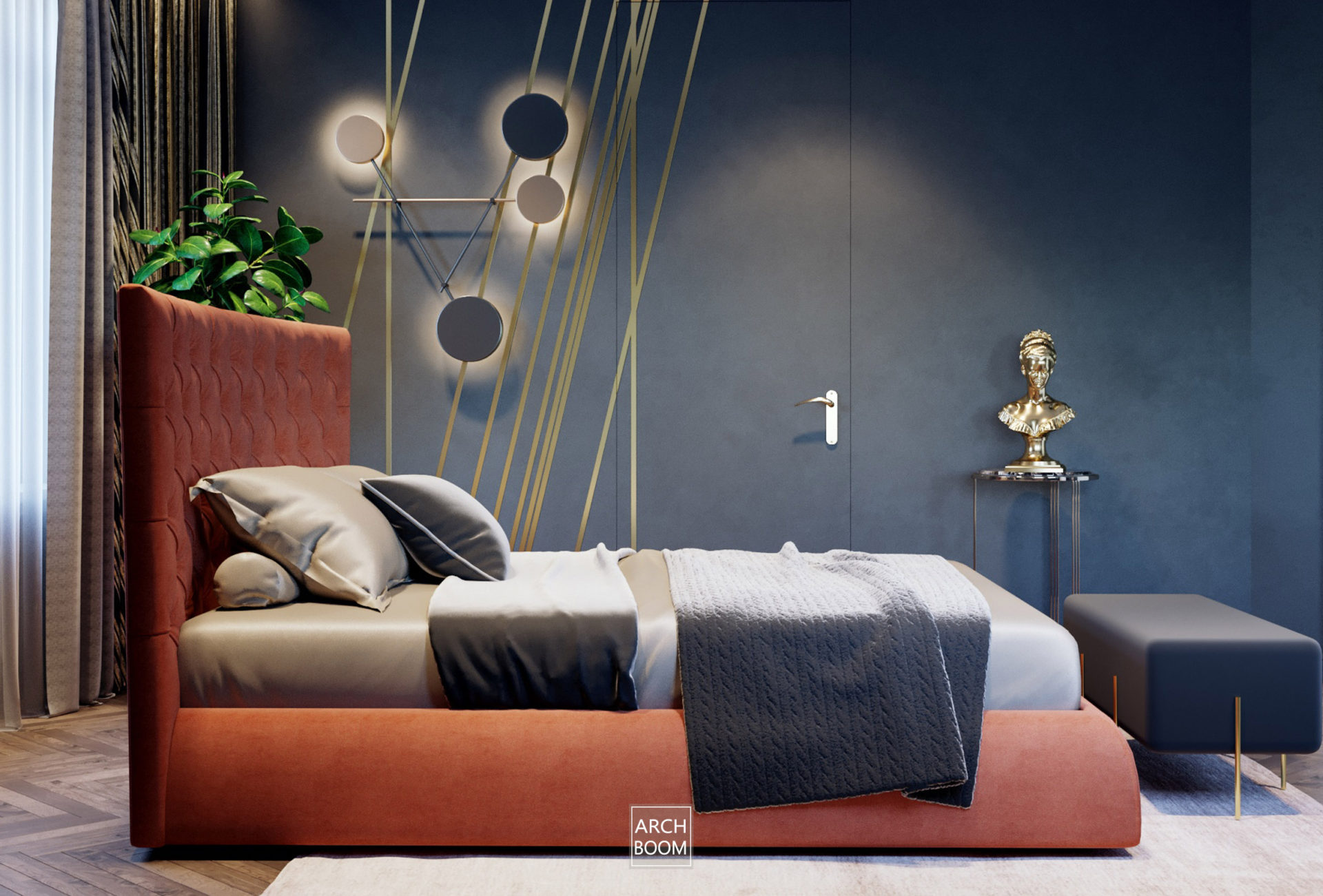 sypialnia z czerwonym łóżkiem i grafitem