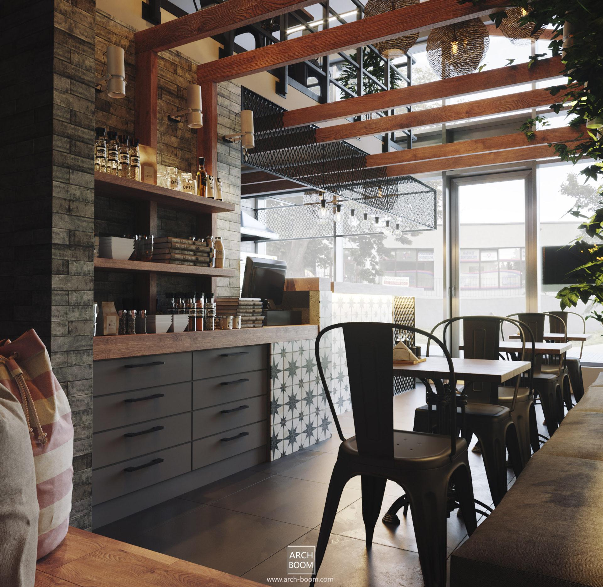 projekt wnętrz pizzerii w stylu rustykalnym industrialnym