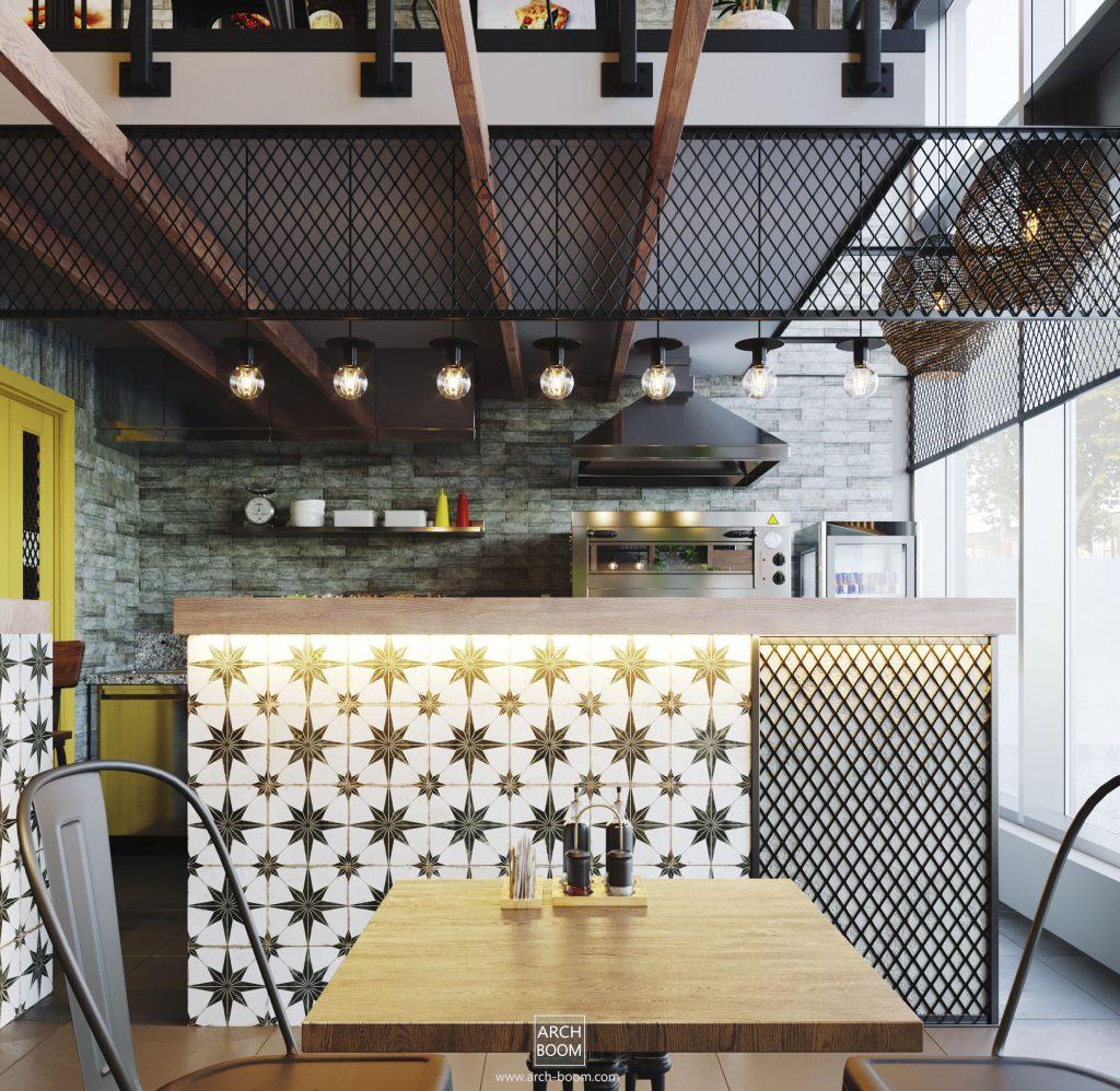 projekt frontu baru w stylu industrialnym
