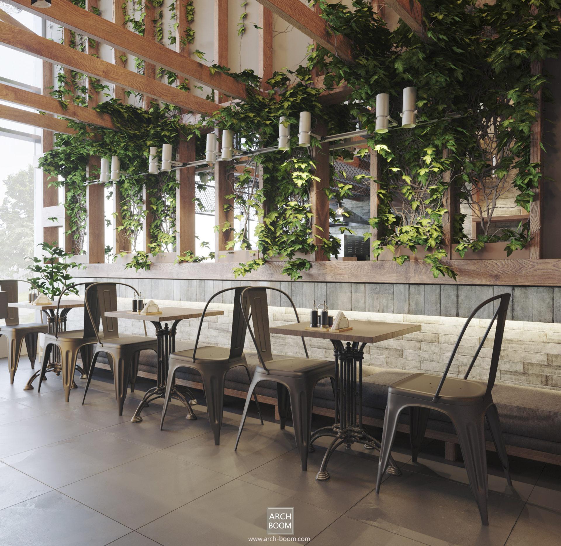 aranżacja wnętrz baru lokalu gastronomicznego drewno, rośliny, cegła. Metalowe krzesła i stoliki. Architekt z polecenia