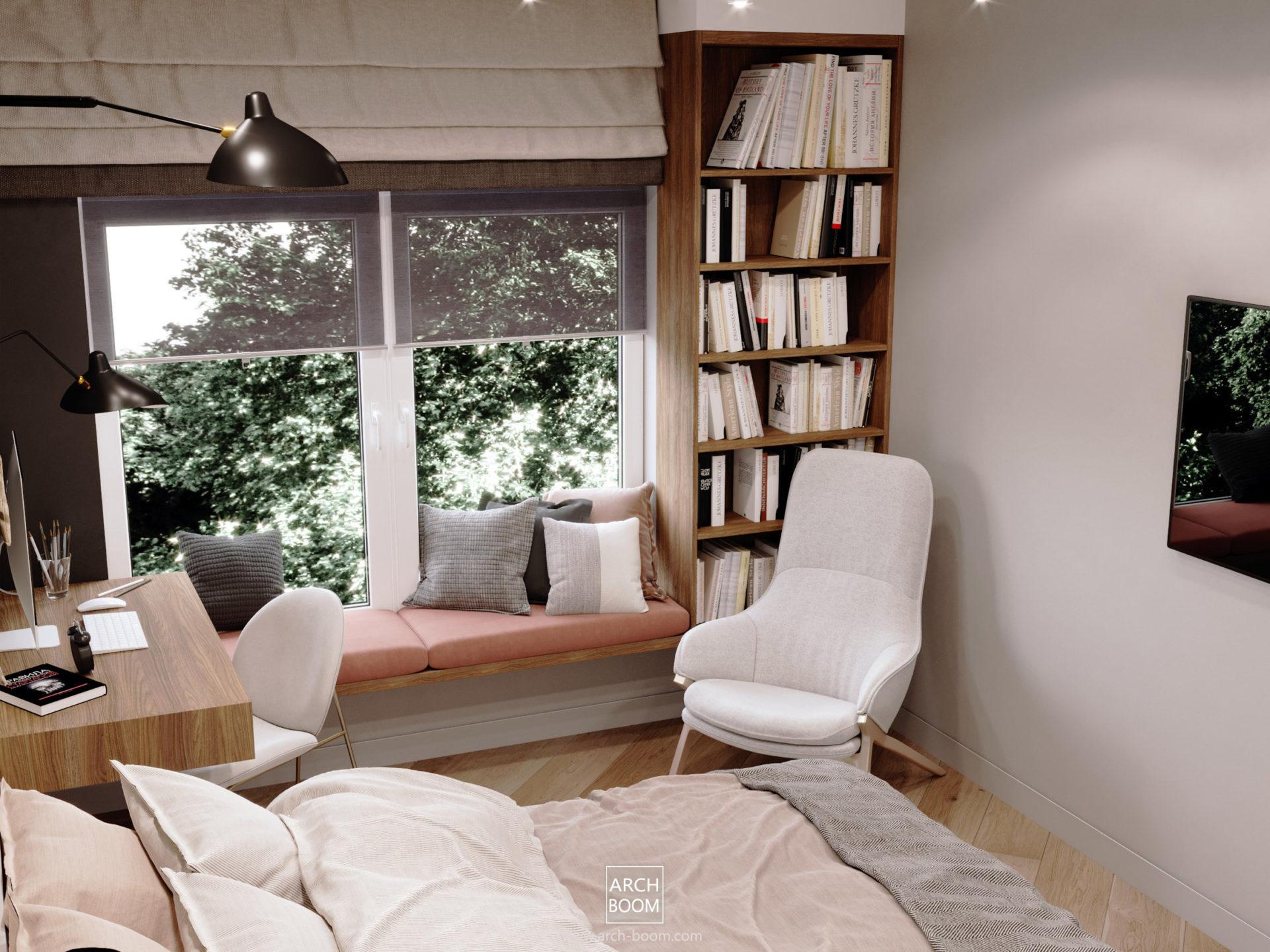 pokój dla nastolatka z parapetem do siedzenia, fotelem i regałem na książki