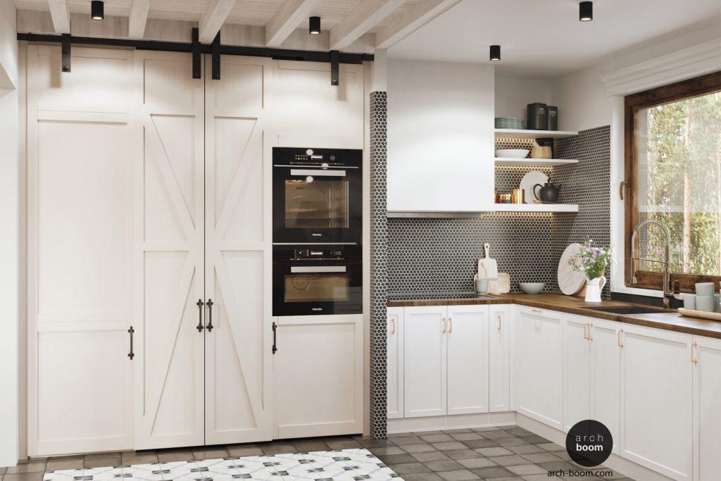 biała kuchnia z czarną mozaiką i wejściem do spiżarni