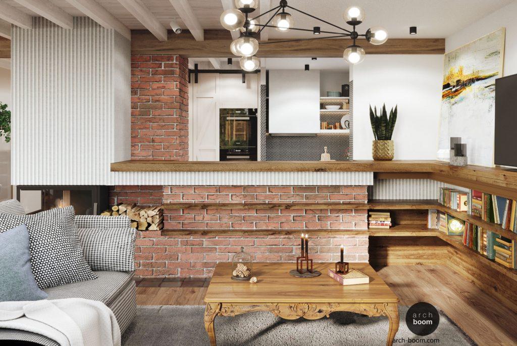 klimatyczne wnętrze domu w stylu wiejskim z kominkiem i cegłą