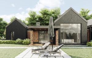 Dom parterowy w stylu barn-house z ciemnego drewna i cegły
