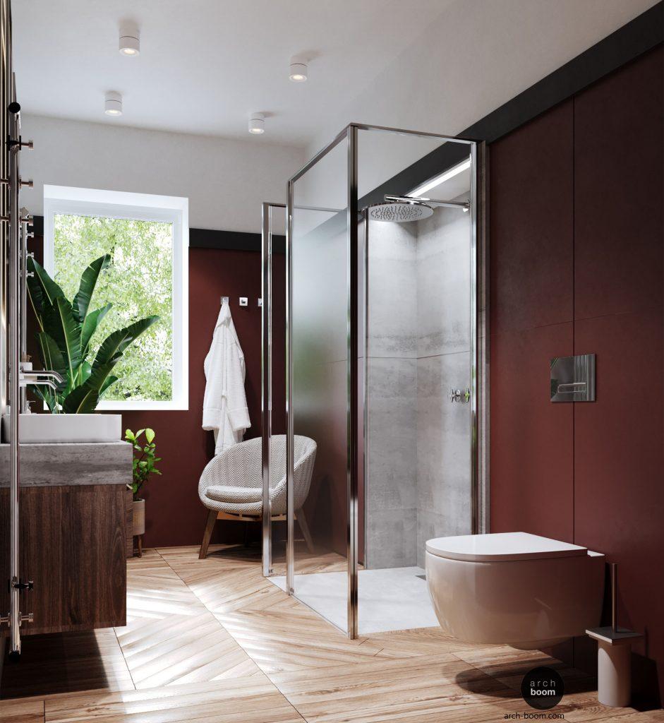 projekt dużej łazienki z prysznicem w centrum