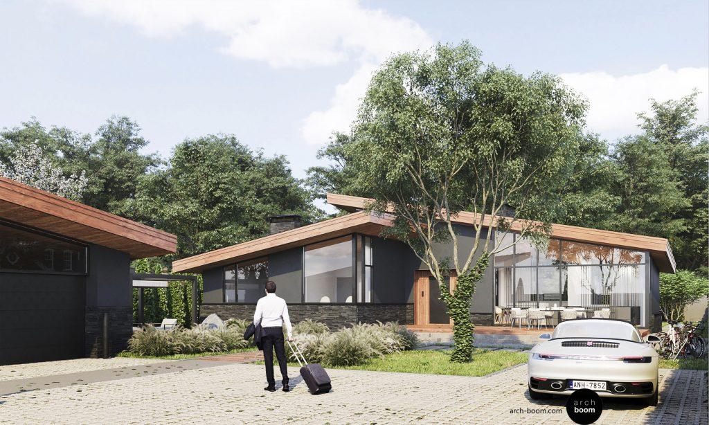 parterowy dom jednorodzinny z dużą powierzchnią szklenia