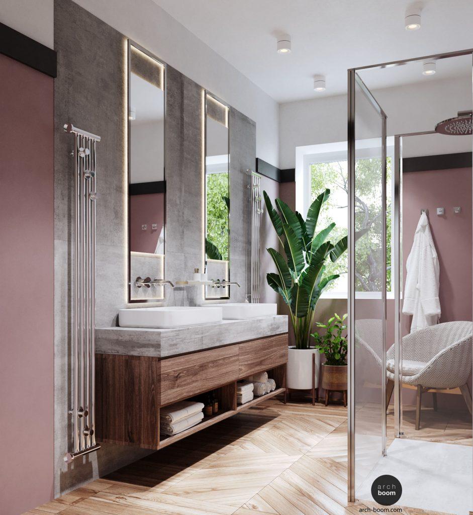 łazienka w kolorze brudnego różu