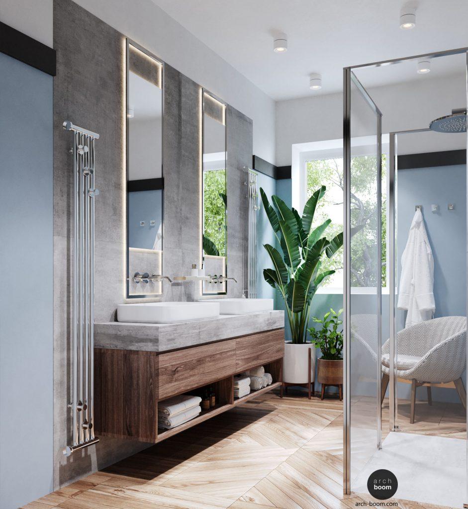łazienka w kolorze niebieskim