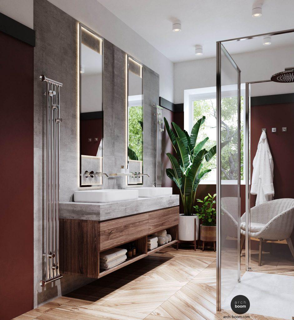 łazienka w kolorze bordo