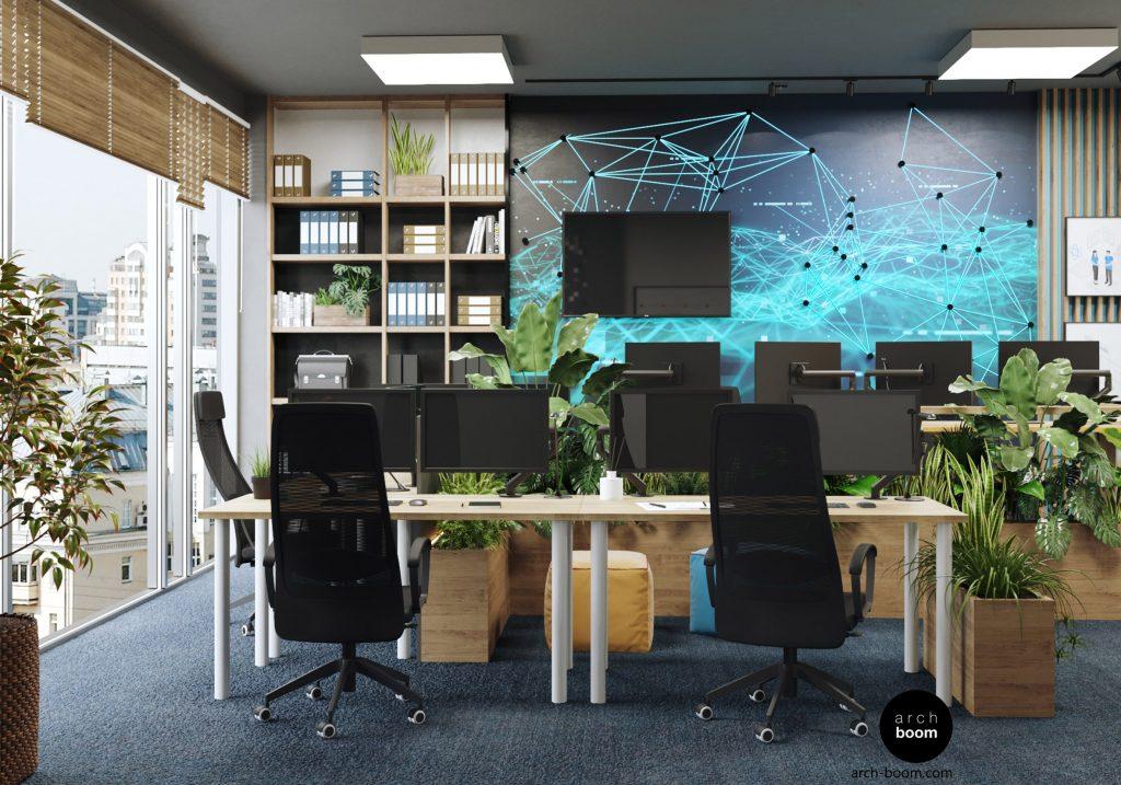 projekt wnętrza biura IT świecąca ściana