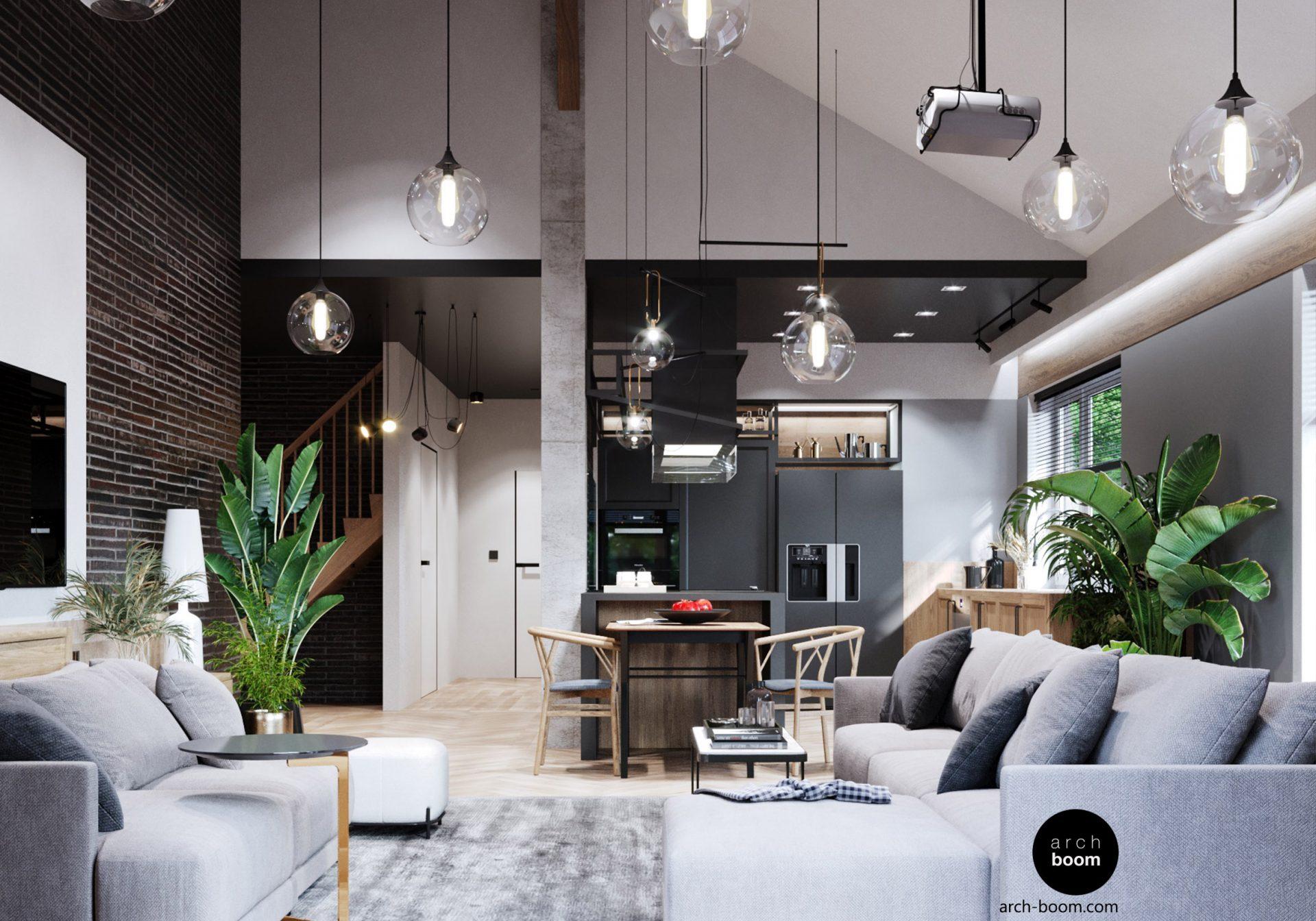Aranżacja wysokiego salonu w nowoczesnym stylu