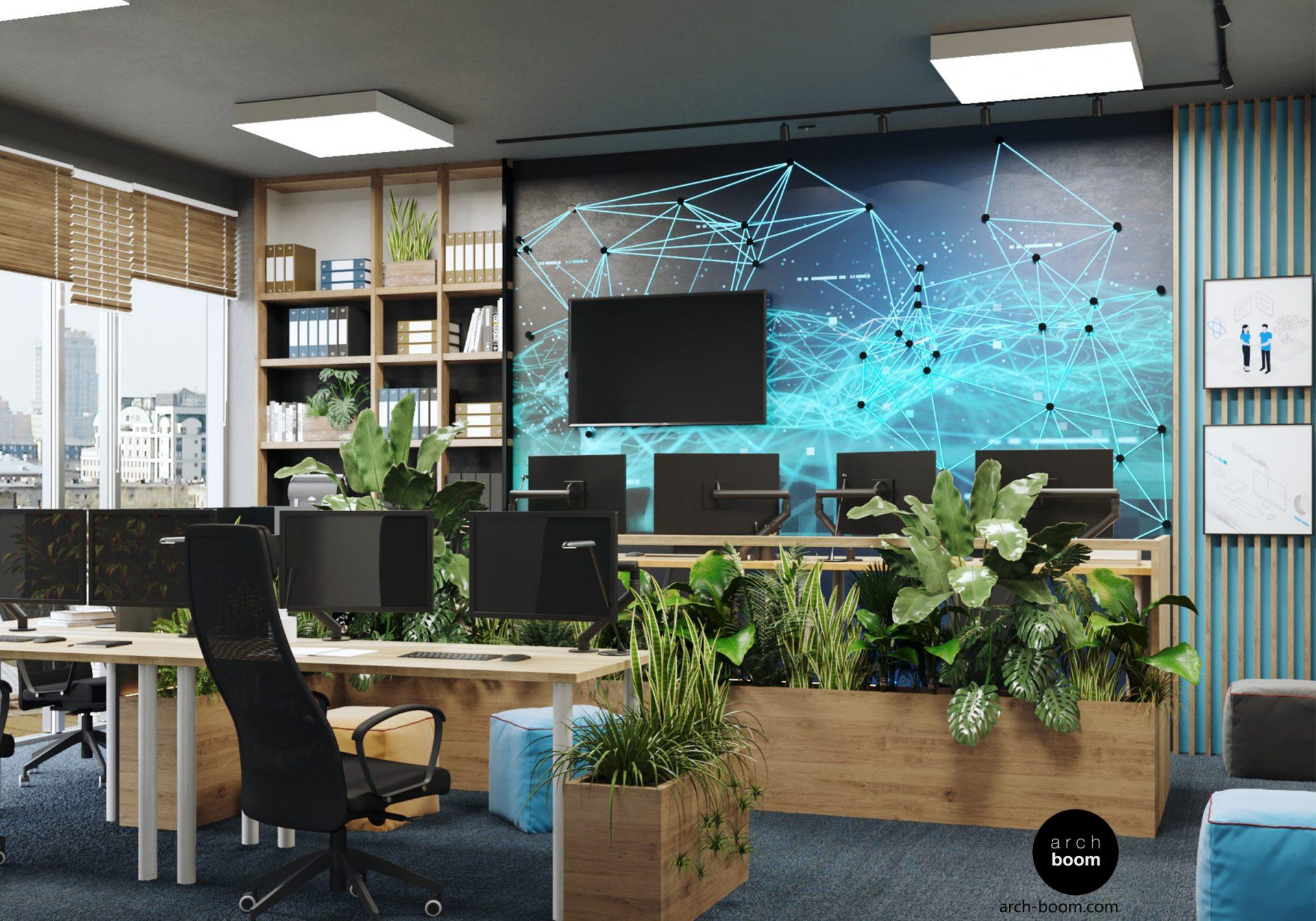 projekt pomieszczeń biurowych dla firmy IT w Gdańsku Wizualizacja