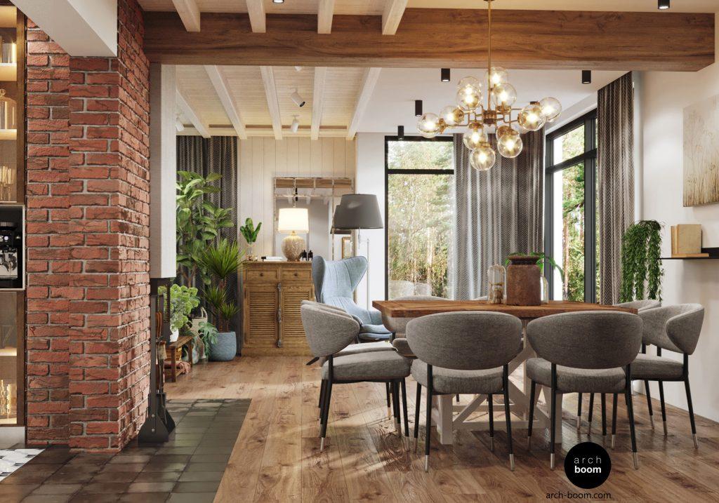 wnętrze domu w stylu wiejskim z drewnianym sufitem i cegłą na ścianach