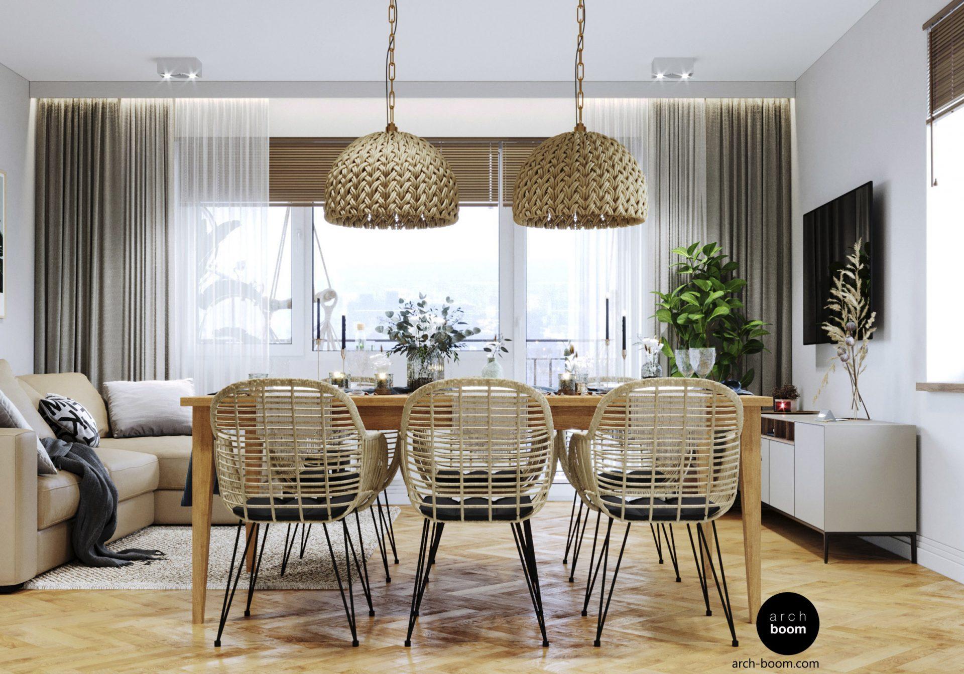 wnętrze salonu ze stołem jadalnianym w stylu boho z wiklinowymi krzesłami i lampami
