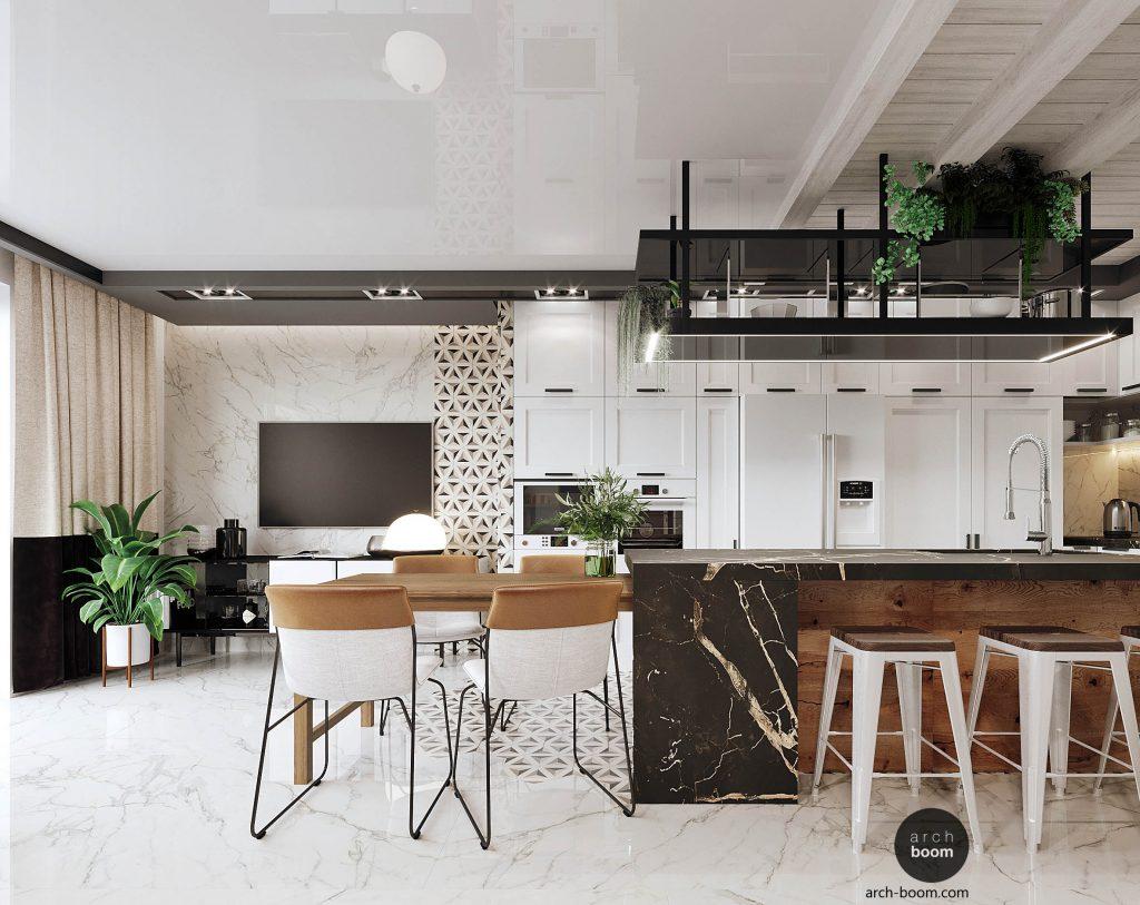 wnętrze salonu z aneksem kuchennym w stylu wiejskim