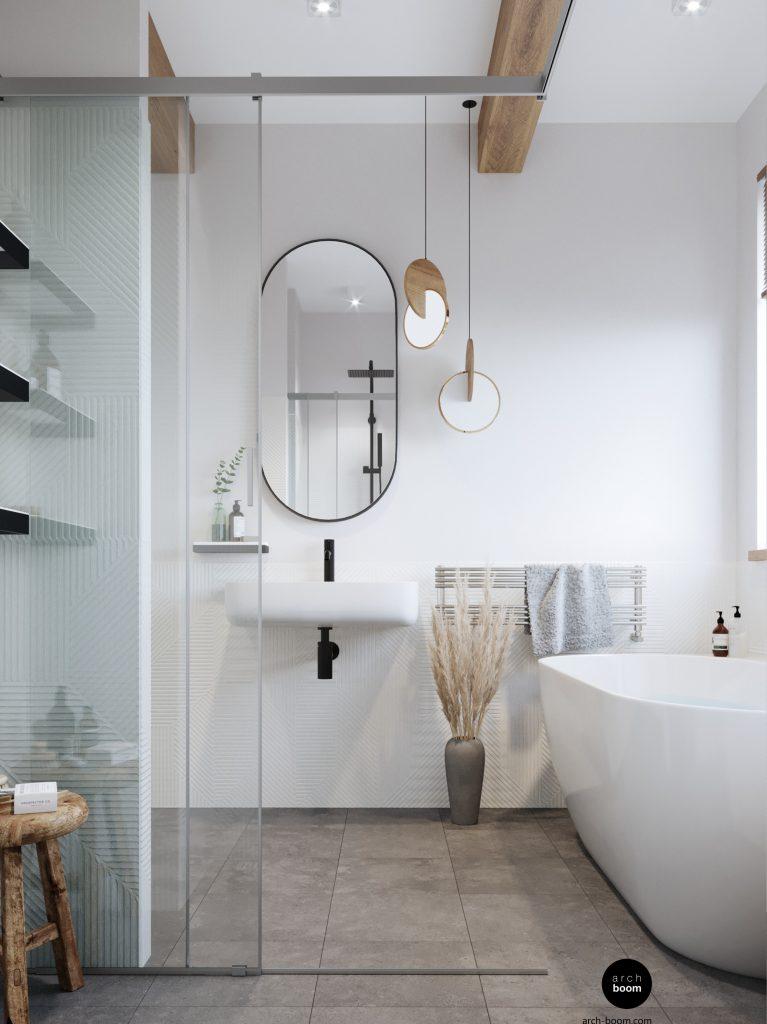 łazienka biała z wanną wolnostojącą
