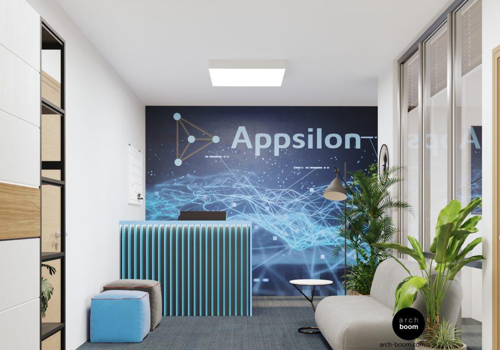 projekt wnętrz biura z nowoczesną recepcja