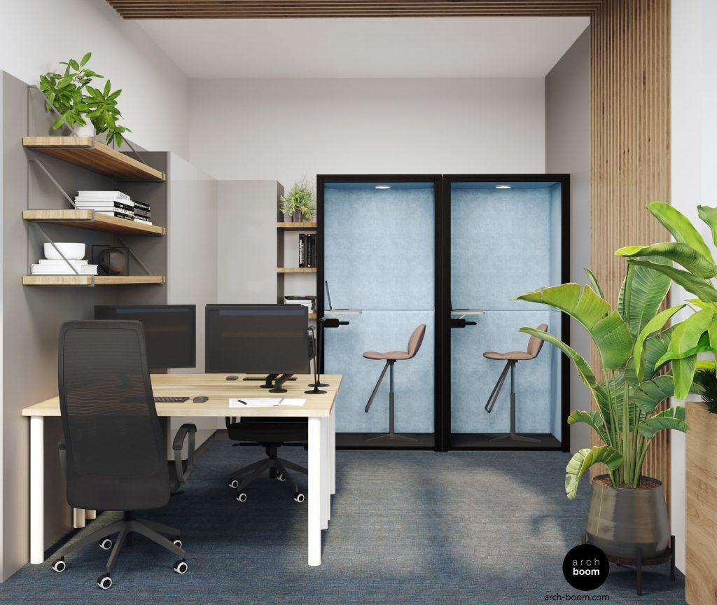 projekt pomieszczeń biurowych budki konferencyjne