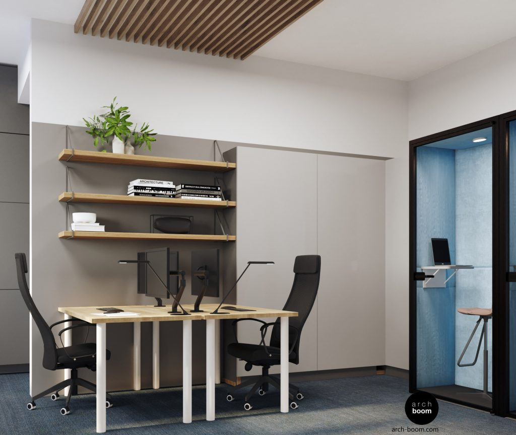 budki konferencyjne w pomieszczeniu biurowym