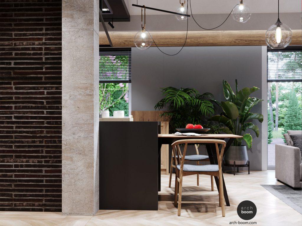 projekt wnętrz domu prywatnego - minimalizm z nutą industrialności
