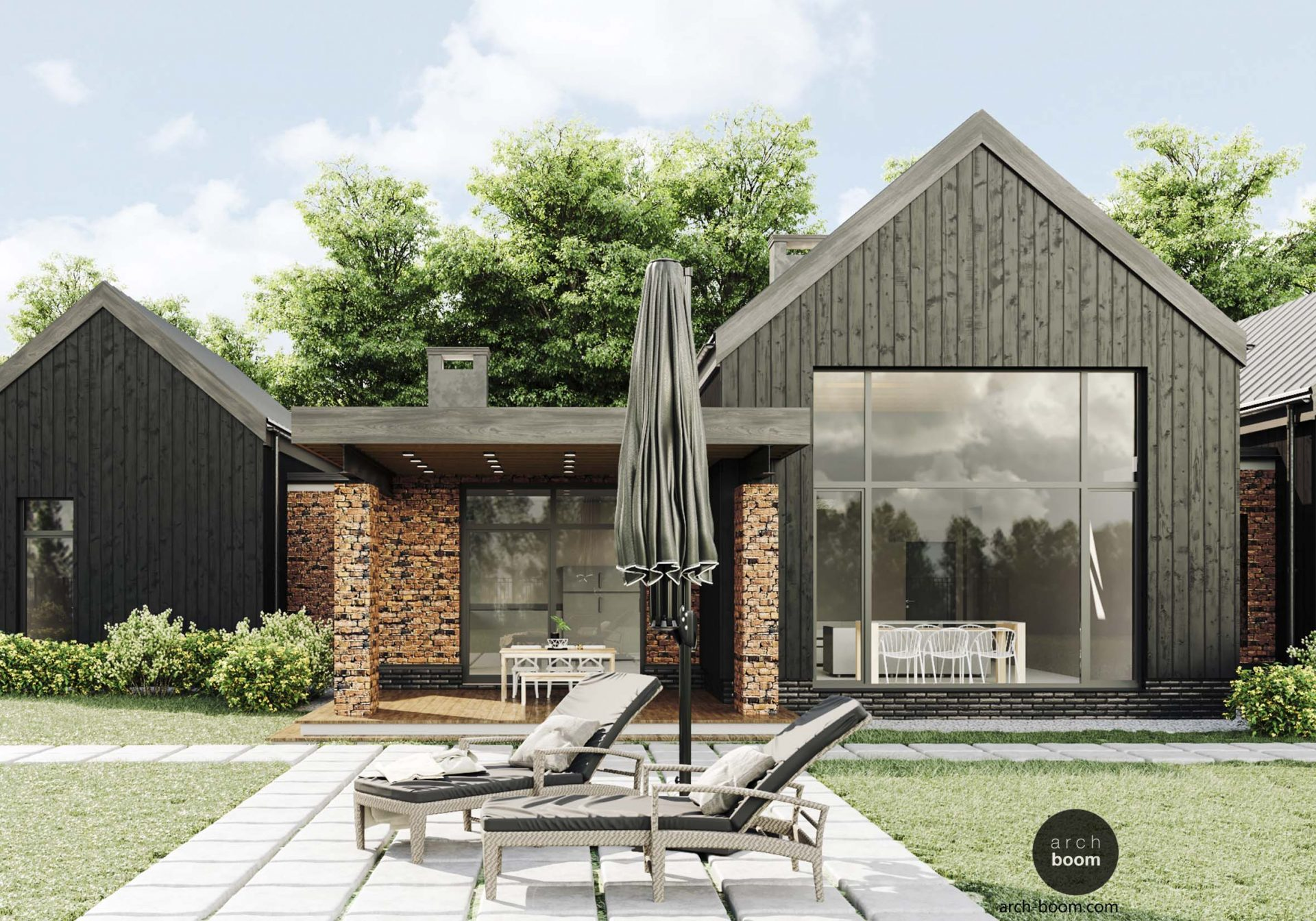 barn house projekt domu z opalonego drewna i cegły