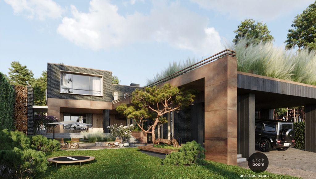 projekt domu w stylu nowoczesnym z czarną cegło i stal korten
